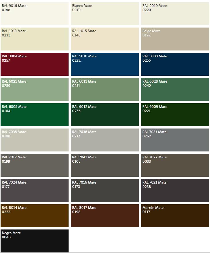 Aluminios garcilaso cartas de acabados colores for Colores ventanas aluminio lacado